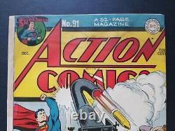 Action Comics #91 Classic Superman cover by Jack Burnley (Dec. 1945, DC) VG