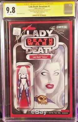 COFFIN Comics LADY DEATH DEVOTIONS #1 CGC SS 9.8 ACTION FIGURE Variant Pulido