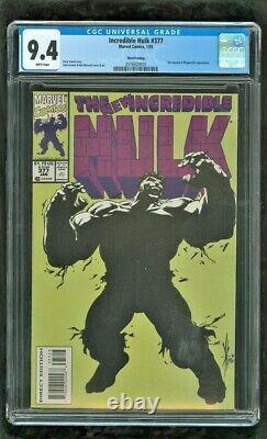 Cgc 9.4 Hulk #377 Marvel Comics 1991 Super Rare 3rd Print Edition (short Print)