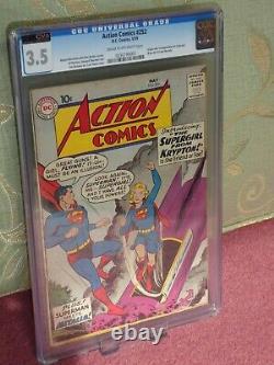 DC Action Comics cgc 3.5 Superman Golden #252 1ST SUPERGIRL APPEARANCE 3.5 CVA