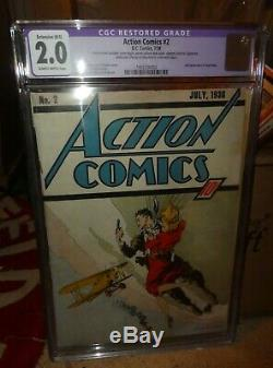 DC Action comics 2 CGC 2.0 2nd SUPERMAN appearance 1938 golden age classic