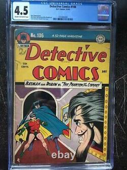 DETECTIVE COMICS #106 CGC VG+ 4.5 CM-OW Dick Sprang cvr/art, Bob Kane art