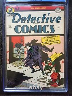 DETECTIVE COMICS #91 CGC FN 6.0 White pg! Classic Joker cover