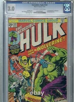 Marvel Comics The Incredible Hulk #181 CGC 3.0 OW-WT 1ST WOLVERINE LOGAN withMVS