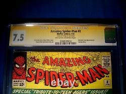 STAN LEE Signed 1964 Amazing SPIDER-MAN # 8 SS CGC 7.5 VF- Marvel Comics