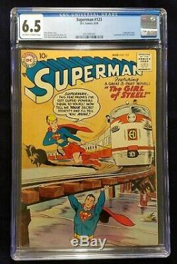 Superman #123 CGC 6.5 FN+ OWithW (DC 8/1958) 1st Supergirl Tryout, Scarce