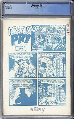 Superman #52 Cgc Vf/nm 9.0 Highest Cgc Grade Action Comics #179 1953