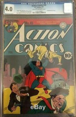 Superman Action Comics #45 Cgc 4.0 First Appearance Of Stuff