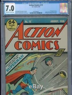 1939 DC Action Comics # 15 5e Édition De Superman Cover Cgc 7.0 Blanc Cassé