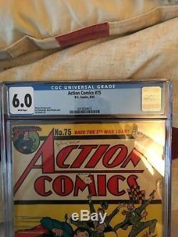 1944 DC Comics Action Comics # 75 Cgc Noté 6.0