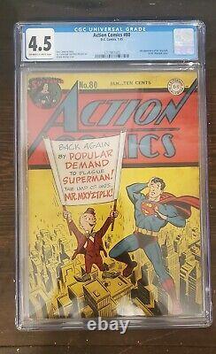 1945 Action Comics #80 Cgc 4.5 Superman Première Apparition De Couverture M. Mxyztplk