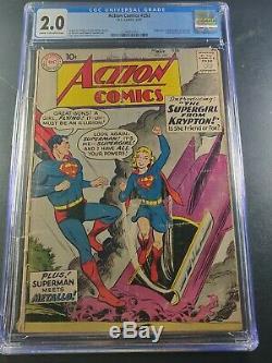 1959 DC Comics Action # 252 Cgc 2.0 1er Apparition De Supergirl
