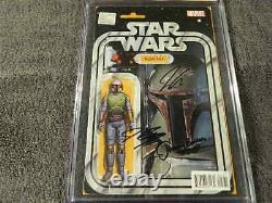 2015 Marvel Comics Star Wars #4 Boba Fett Action Figure Ss 4x Signé Cgc 9.8