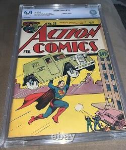 6.0 Action Comics # 33 Superman, 1941 Pages Blanches! Classique Couverture