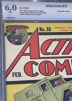 6.0 Action Comics #33 Superman, 1941 Pages Blanches! Couverture Classique