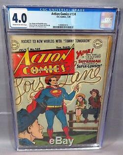 Action # 134 (bd Golden Age Superman) Cgc 4.0 Vg DC Comics 1949 Cbcs