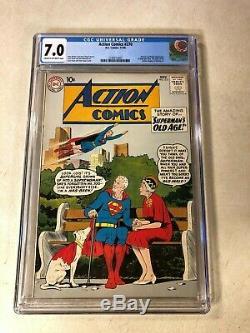 Action # 270 Cgc 7.0 Superman Batman Supergirl Robin Krypto 1960 Swan Bizarro
