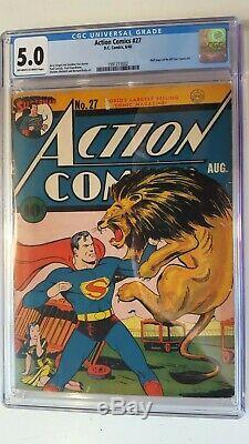 Action # 27 Première Comics Lane Couverture Cgc Siot 5.0 Couleurs Owithwt Bright 1940