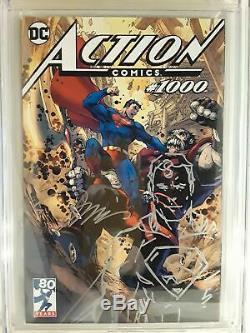 Action Comics # 1000 (cgc 9.8) Jim Lee Signé & Esquisse! Couverture De Variante De Tournée