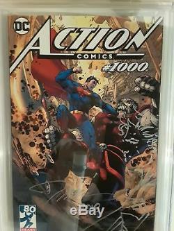 Action Comics # 1000 (cgc 9.8) Jim Lee Signé Et Dessiné! Couverture De Variante De Tournée