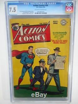 Action Comics # 100 Cgc 7.5 Vf- (série DC 1938) Pages Oubliées