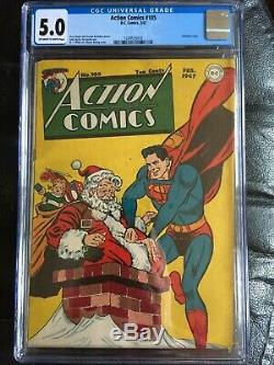 Action Comics # 105 Cgc Vg / Fn 5.0 Ow-w Rare Couverture X-mas