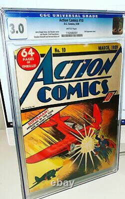 Action Comics 10 Cgc 3.0 Gd/vg DC 1939 3ème Superman Cover Rare Key Issue