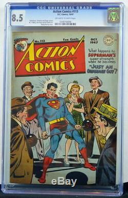 Action Comics # 113 Cgc 8.5 Superman 1947 3e Plus Gradé Copie Seulement 2 Mieux