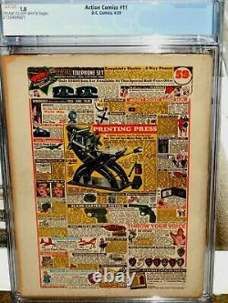 Action Comics # 11 Cgc 1.0 Golden Age Clé Superman Comic Crème Ow Pages