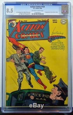Action Comics # 124 Cgc 8.5 Superman 1948 2e Copie La Mieux Notée