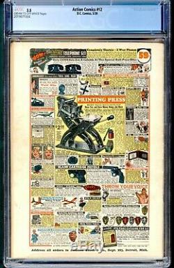 Action Comics 12 Cgc 3.5 DC 1939 Superman Scarce Annonce Pour Le Détective 27 Zatara Cvr