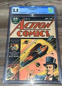 Action Comics 12 Cgc 3.5 Vg- DC 1939 Zatara Sci Fi Cover Superman Tec 27 Ad Rare
