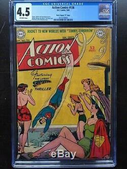 Action Comics # 136 Cgc Vg + 4.5 Ow Couvercle Classique Rare! D Copie