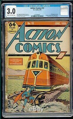 Action Comics 13 Cgc 3.0 DC 1939 Superman Scarce Superman 1 Ad 4ème Application De Couverture