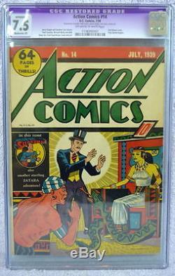 Action Comics # 14 Cgc 7.5 Superman 1939 Pages Blanc Cassé / Blanc 1ère Vision Aux Rayons X
