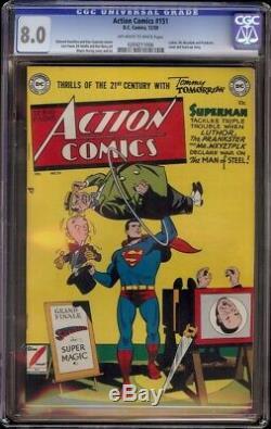 Action Comics # 151 Cgc 8.0 (dc 1950) M. Mxyztplk Et Luthor Couverture Et Apparence