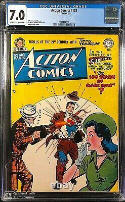 Action Comics # 153 Cgc 7.0 Owithw Seulement 18 Jamais Catégorisé! Grande Question Superman