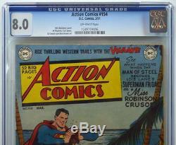 Action Comics # 154 Cgc 8.0 Superman 1951 Copie La Mieux Notée