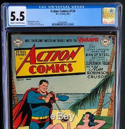 Action Comics # 154 (dc 1951) Cgc 5.5 Seulement 11 En Recensement! Superman Couverture
