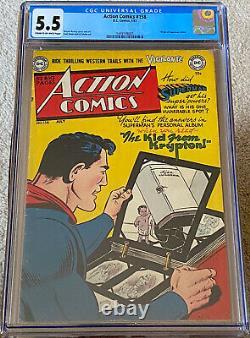 Action Comics #158 Cgc 5.5 (1951) DC Comics Origine De Superman Retold