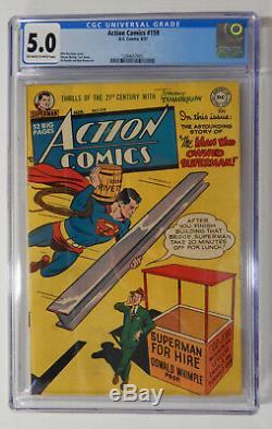 Action Comics # 159 Cgc 5.0 Vg / Fn - Rare! Bandes Dessinées De L'âge D'or De 1951