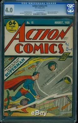 Action Comics 15 Cgc 4.0 Golden Age Clé DC Comic 5 Superman Cover Jamais L @@ K