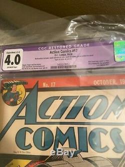 Action Comics # 17, 6 Superman Couverture, Classique, Cgc Graded 4.0 (c-2)