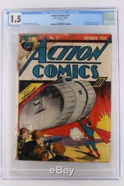 Action Comics # 17 Cgc 1.5 Fr / Gd DC 1939 6 Superman Couverture Au Titre