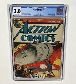 Action Comics # 17 Cgc 3.0 Key! Brillant! (6ème Couverture De Superman Dans Le Titre) Octobre 1939 DC
