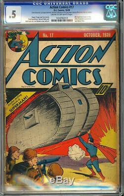 Action Comics # 17 Cgc. 5 Classique Early Superman Couverture