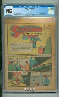 Action Comics #18 Cgc Ng Origine Sans Couverture Et 1ère Application De Trois As 1939