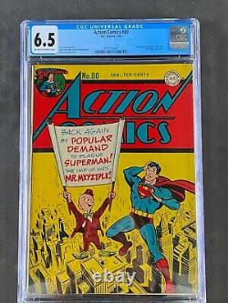 Action Comics (1945) #80 Cgc 6.5 Owithwt DC Comics 3710159007 Superman