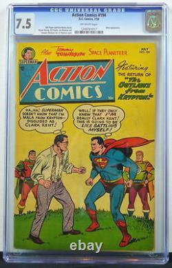 Action Comics #194 Cgc 7.5 Superman 1954 3ème Copie La Plus Élevée