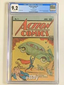 Action Comics # 1 Cgc 9.2 Safeguard 1976 Promotional Réimpressions 1er Superman
